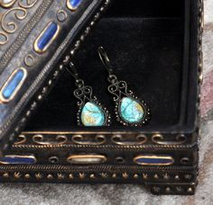 Hand Painted Earrings on Glass/ Turquoise and Eggshell White with Antique Look Bronze Earwires Leverbacks