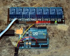 An Arduino Uno driving 1 relay on an 8 relay board. www.arduino-board.com