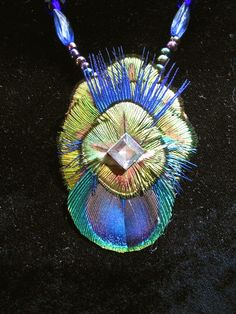 Feather Necklace Peacock Mandalla by DarklyngStudios on Etsy, $32.00