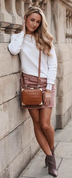 #fall #outfits women's white longsleeved top and brown mini skirt withpair of brown shoes