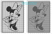 Filet crochet pattern baby blanket with Disney Minnie Mouse height 160 squares Baby Afghan Crochet, Afghan Crochet Patterns, Baby Patterns, Filet Crochet Charts, Cross Stitch Charts, Cross Stitch Patterns, Silhouettes Disney, Minnie Mouse Silhouette, Crochet Mickey Mouse