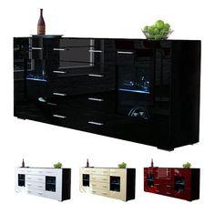 Sideboard Chest of Drawers Cabinet Grömitz V2 Black - High Gloss & Natural Tones   eBay