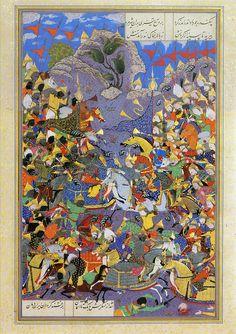 Iskandar (Alexander) Slays Fur & Conquers Hind (Abu'l Qasim Firdausi (935–1020 CE Persian): Shahnama (Book of Kings) (Shah Tahmasp) (ca. 1525-1530 CE Safavid Miniature Painting, Iran) -'Abd al-Wahab)
