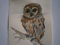 Kleiner Waldkauz als Original Aquarell Eulenbild von kunstpause auf DaWanda.com