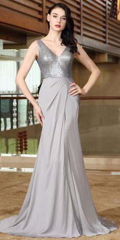 eDressit Grey Sequins Prom Evening Dress