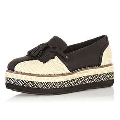 black flatform loafers - brogues / loafers - shoes / boots - women - River Island