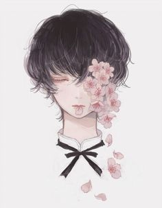 Find images and videos about flowers and anime boy on We Heart It - the app to get lost in what you love. Manga Art, Manga Anime, Anime Art, Anime Boys, Desu Desu, Art Et Illustration, Arte Horror, Boy Art, Aesthetic Anime