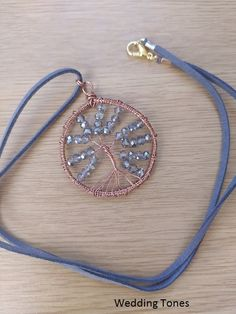 Handmade necklace with copper wire pendant with grey crystals. Faux suede cord in grey color and gold plated clasp. Tree Of Life Necklace, Wire Pendant, Handmade Copper, Gold Hair, Copper Wire, Handmade Necklaces, Crystal Necklace, Diy Jewelry, Pendants