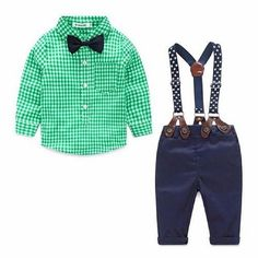 Complete suspender outfit sure to make your little boy even more handsome. Set includes as pictured top with bow, pants and suspenders. Free shipping! Typically ships within 1-3 working days. Shipping