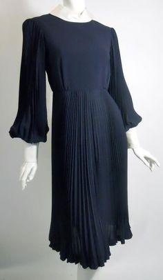 Teal Traina pleated wool 60s dress, Dorothea's Closet Vintage