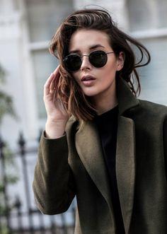 khaki coat and brand leather pants   HarperandHarley