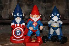 Batman, Superman, and Captain America - Superhero Garden Gnomes.