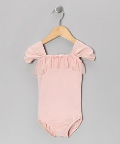 Take a look at this Whimsical Pink Ruffle Cap-Sleeve Leotard - Toddler & Girls by Mondor on #zulily today!