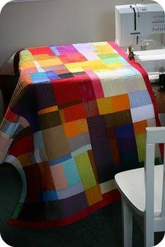 Solid color quilt.  So cute.