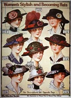 Advert for women's hats, page from a catalogue for Charles Williams Stores, New York, 1914 (colour litho)