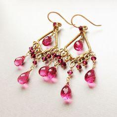 Custom Made 14 Karat Gold Filled Chandelier Earrings With Rhodolite Garnet And Pink Quartz Gemstones by Anna Cordner, Noria Jewelry. Starting at $165.