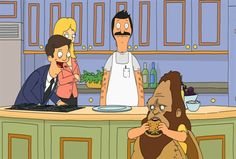 """Bob on one side. Beefsquatch on the other. Let's just say """"Hey Good Cookin"""" did not survive the feud. #bobsburgers"""