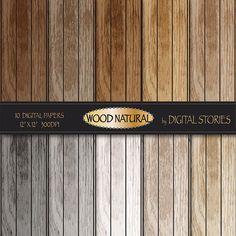 Wood digital paper WOOD NATURAL distressed wood by DigitalStories, €2.80