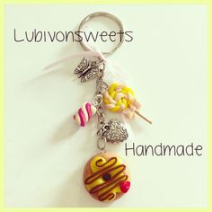 Donut and lollipop clay Keychain. Handmade creations. Fimo clay charms.