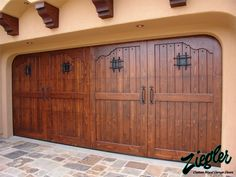Custom Garage Doors in Spanish Colonial Designs from Europe. Custom crafted in solid wood & rustic iron decorative hardware. Custom Garage Doors, Carriage Garage Doors, Modern Garage Doors, Wood Garage Doors, Barn Garage, Shed Design, Door Design, House Design, Garage Design