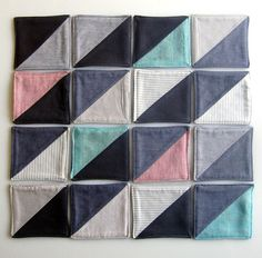 coasters  Sew them together for a lap quilt. The dark diagonal line is eye catching for a wall hanging as well