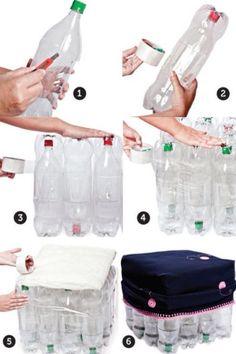 Banqueta o minimesa creada con botellas