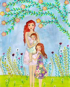 Pintura de madre hija madre y dos hijas pintura de la