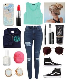"""""""Ugh... Don't wanna go to school tomorrow..."""" by one-of-those-nights ❤ liked on Polyvore featuring MANGO, Topshop, MAC Cosmetics, Stila, NARS Cosmetics, Ray-Ban, Essie, Eos, Kendra Scott and Vans"""