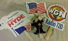 3 Fans Illinois Political Campaign Congress Hyde WGN Radio Vote Bush Plush Lot