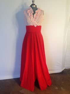 1950's polyester sleeveless pantsuit. Available at Mid Mod Collective.  Email midmodcollective@gmail.com for more info. SOLD!