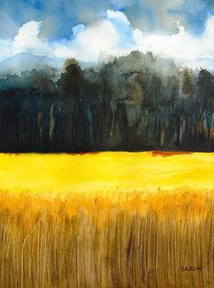 Wheat Field 1 watercolor painting by Carlin Blahnik. The magic of watercolor, this wheat field glows bright yellow while the distant hills take on a dramatic cloudy sky. http://www.carlinart.com/