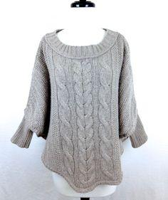 Ann Taylor Gray Loft Trendy Batwing Long Sleeve Knit Pullover Sweater M Nice | eBay