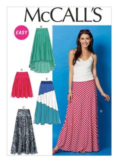 Sewing Pattern Women's Knit Fabric Skirt Pattern, Long Skirt Pattern, Hi Lo Skirt Pattern, Skirt Pattern, McCall's Sewing Pattern 6966 Sewing Paterns, Mccalls Sewing Patterns, Simplicity Sewing Patterns, Clothing Patterns, Dress Patterns, Pattern Skirt, Coat Patterns, Diy Mode, Make Your Own Clothes