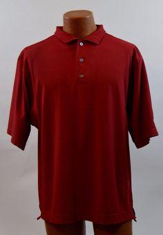 Footjoy Mens Medium Red Short Sleeve Polo Golf Shirt  #FootJoy #PoloRugby