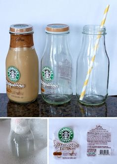 How to take the labels off of Frappuccino bottles - it's easier than you'd think! I bet you could make the lid into a spill proof lid like the mason jar idea....