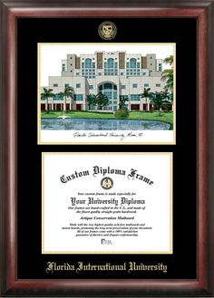 Florida International University Gold embossed diploma frame with Campus Images lithograph