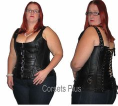 Leather Corset Steel Boned Waist Shaping Black Any Size Custom Corsets Plus