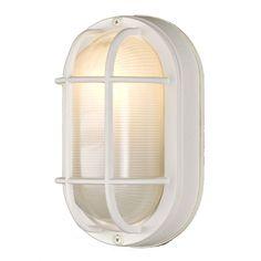 Design Classics Lighting 8-Inch Oval Bulkhead Light with 8.5-Watt LED Bulb 4514 WH 8W LED