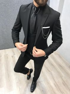 Product: Slim-Fit Vest Suit Color Code: Black Size: Suit Material: wool, poly Machine Washable: No Fitting: Slim-fit Package Include: Coat, Vest and Pants Only Source by gentwith Mens Dress Outfits, Men Dress, Dress Shoes, Shoes Heels, Mens Fashion Suits, Mens Suits, Grey Suits, All Black Suit