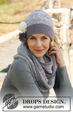 "Charleston - Knitted DROPS hat and neck warmer in 2 strands ""Baby Alpaca Silk"". - Free pattern by DROPS Design Baby Knitting Patterns, Free Knitting, Gilet Crochet, Knit Cowl, Knit Crochet, Crochet Hats, Baby Alpaca, Drops Design, Alpacas"