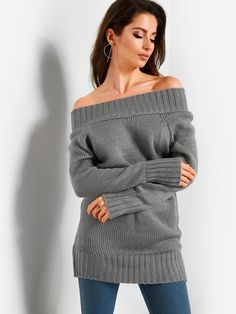 840d34a385a3b Grey Off Shoulder Fashion Long Sweater  yoins  dresses  fashion   cocktail dresses