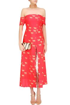 MASABA Red Horse Printed Kurta, Gold Moor Pants and off White Choker Dupatta