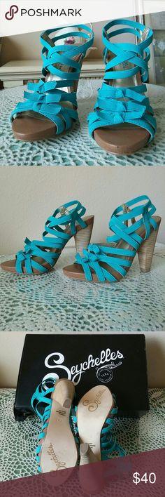 Seychelles Shoes Gorgeous turquoise straps heel. 4 1/2 inches heel, worn once. Seychelles Shoes Sandals