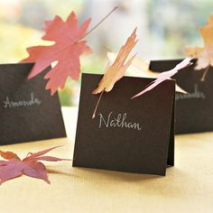 Leaf Place Cards.   Place cards topped by leaves that look like they just blew in. To make each card, fold a piece of cover-weight card stock in half. Write guest's name with a (white gel pen if on dark paper) pen. Cut 1 or 2 notches in card (about 1 inch wide), at an angle. Slide fallen leaves -- fresh or dried and pressed -- into each notch.