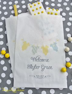 Personalized Baby Shower Favors by abbey and izzie designs on Etsy  #babyshower, #showercandybags, #candybuffetbags,