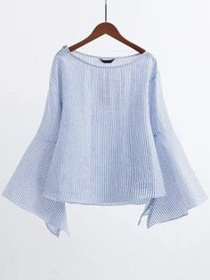 Shop Striped Boat Neck Slit Bell Sleeve Blouse With Zipper online. SheIn offers Striped Boat Neck Slit Bell Sleeve Blouse With Zipper & more to fit your fashionable needs. Look Fashion, Hijab Fashion, Fashion Outfits, Womens Fashion, Fashion Design, Bell Sleeve Blouse, Bell Sleeves, Collar Blouse, Mode Outfits