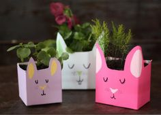 How To: Bunny Planters From Recycled Milk Cartons | via 17 Apart