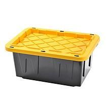 Muscle Rack 15 Gallon Heavy Duty Tote With Black Bottom And Yellow Snap Lid 4 Pk Storage Tubs Storage Tote Storage