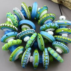 Magma Beads ~Bright Green & Blue Disks~ Handmade Lampwork Beads. #Lampwork