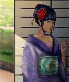 kawaii hinata with kimono digital art